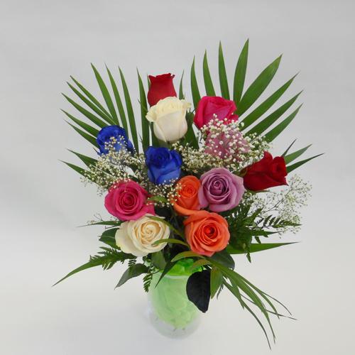 12 Roses couleurs et bleu